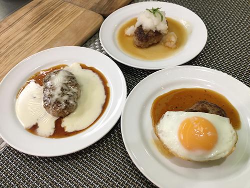 手作りジューシーハンバーグ(チーズ・エッグ・おろし)