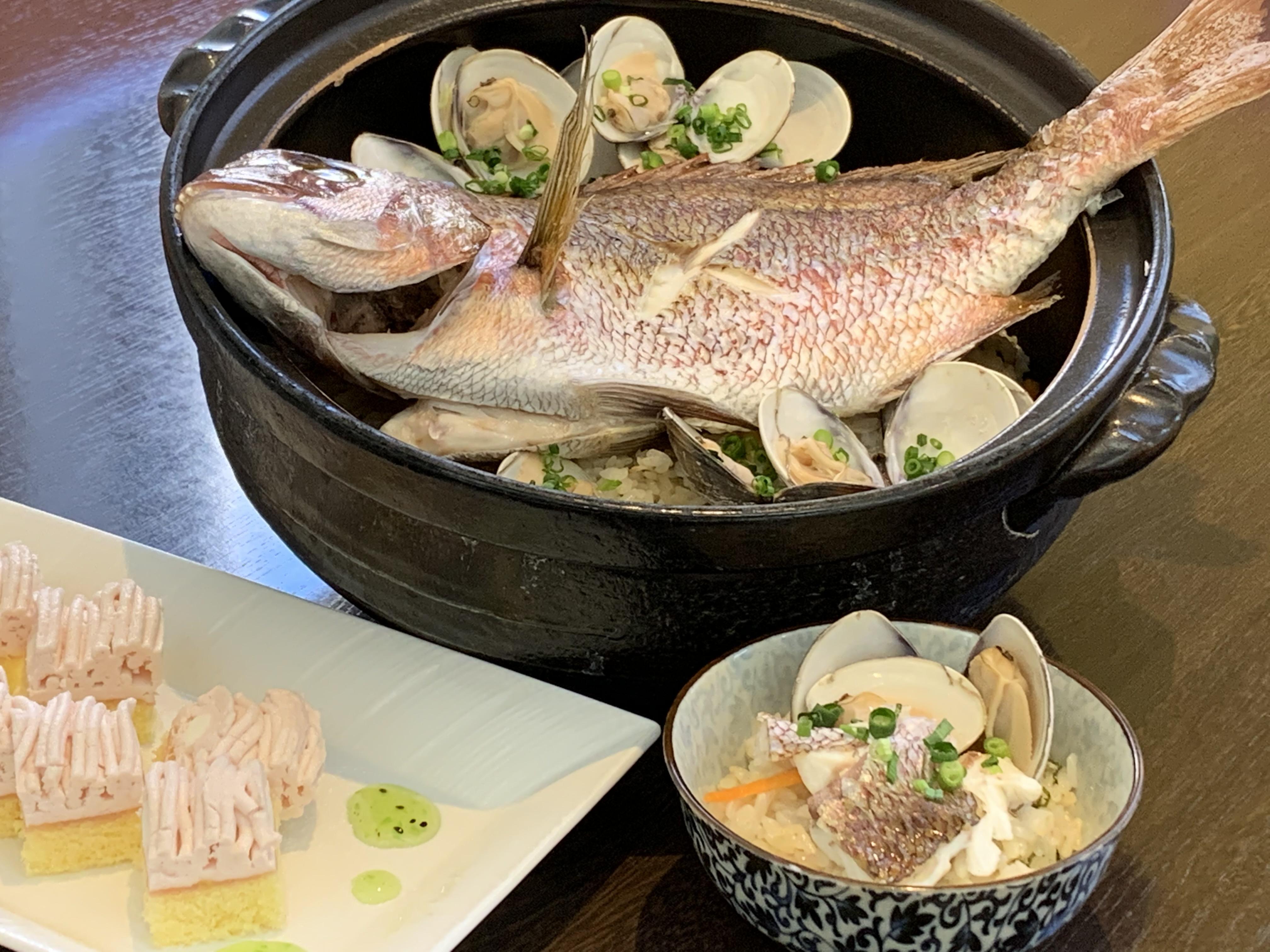 まるごと鯛と蛤の炊き込みご飯